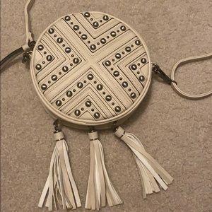Cream circular beaded purse with tassels